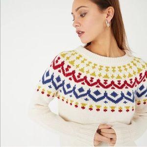J.Crew Vintage Fair Isle Primary Colors Sweater